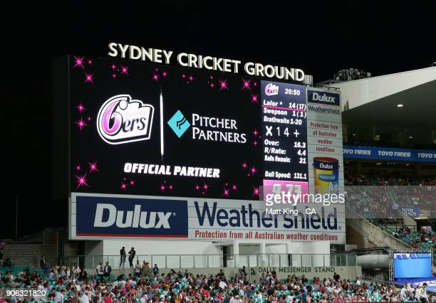 The scoreboard shows the score of 73 after the final Heat wicket falls during the Big Bash League match between the Sydney Sixers and the Brisbane...