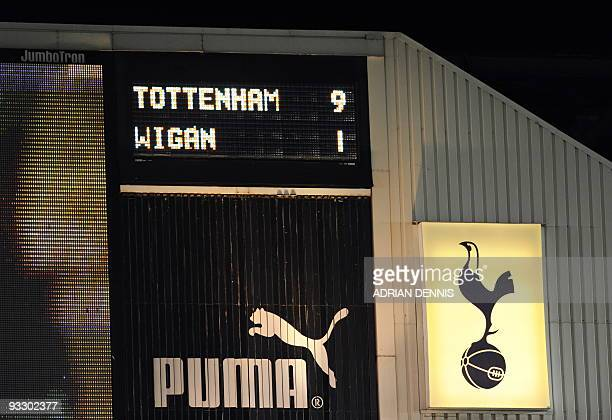 The scoreboard shows the score of the Tottenham Hotspur versus Wigan Athletic during the Premiership match at White Hart Lane in London on November...