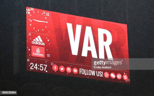 The scoreboard shows the use of the new VAR system during the TIM Cup match between AC Milan and FC Internazionale at Stadio Giuseppe Meazza on...