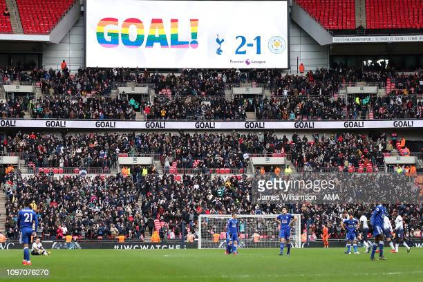 The scoreboard shows the word Goal after Son Heungmin of Tottenham scores a goal to make it 31 during the Premier League match between Tottenham...