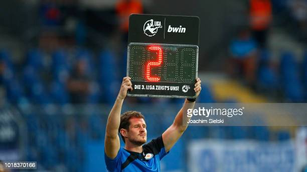 The scoreboard with the overtime during the 3 Liga match between Eintracht Braunschweig and Karlsruher SC at Eintracht Stadion on July 27 2018 in...