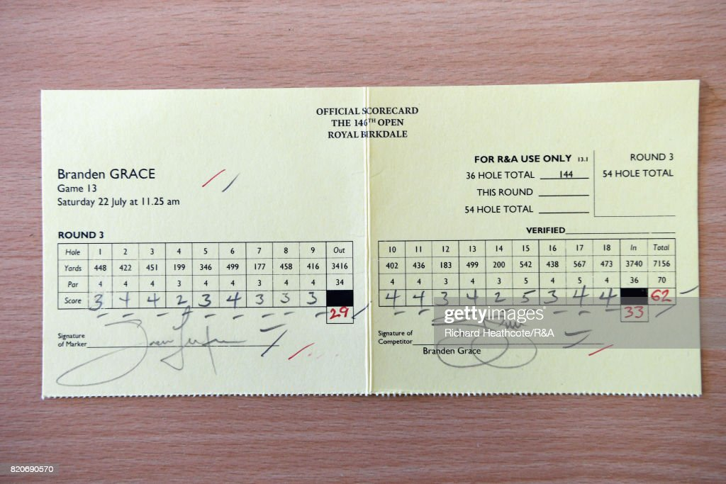 The scorecard of Branden Grace of South Africa who shot a 62 the lowest round in major championship history during the third round of the 146th Open Championship at Royal Birkdale on July 22, 2017 in Southport, England.