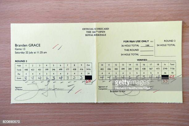 The scorecard of Branden Grace of South Africa who shot a 62 the lowest round in major championship history during the third round of the 146th Open...