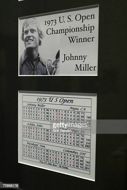 The scorecards from Johnny's Miller 1973 US Open victory at Oakmont Country Club site of the 2007 US Open on September 26 2006 in Oakmont Pensylvania