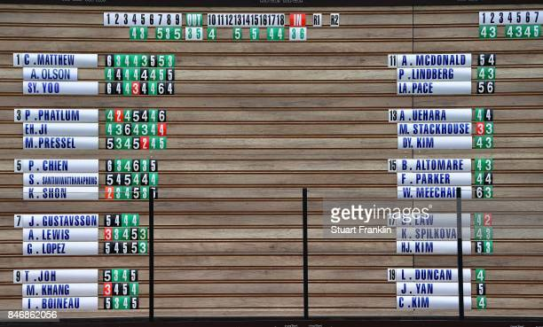The scored baord shows the scores that will be scrapped during the weather delayed first round of The Evian Championship at Evian Resort Golf Club on...