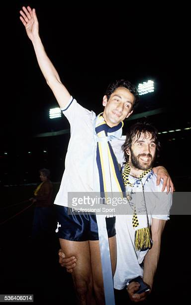 The scorer of the winning goal for Tottenham Hotspur Ricardo Villa celebrates with his Argentinian teammate Osvaldo Ardiles after their victory in...