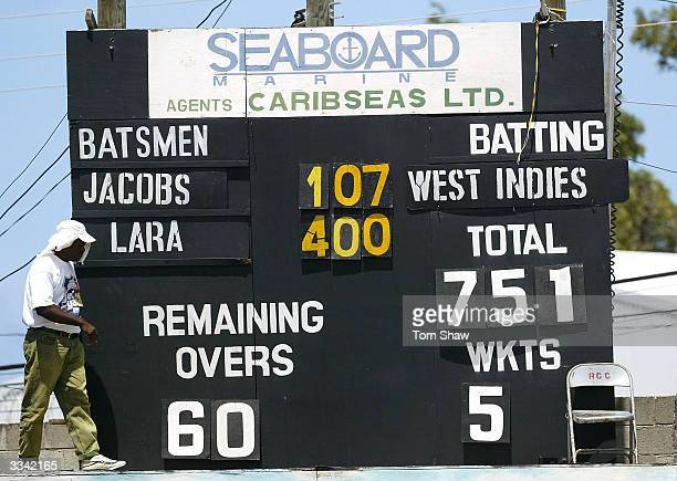 The scorers put up the final score, with Brian Lara on 400 not out, the highest ever test score, during day three of the 4th Test match between the...