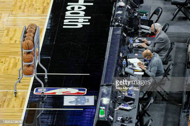 The scorers table is seen prior to a game between the Atlanta Hawks and Orlando Magic at Amway Center on March 3, 2021 in Orlando, Florida. NOTE TO...