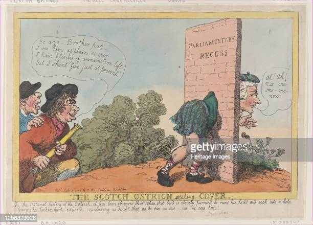 The Scotch Ostrich Seeking Cover July 8 1805 Artist Thomas Rowlandson