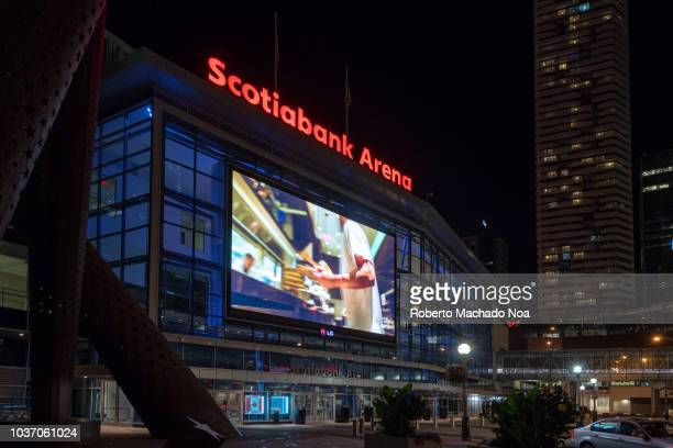 The Scotiabank Arena at night The famous place used to be called the Air Canada Centre but the Scotia bank bought the naming rights in order to see...