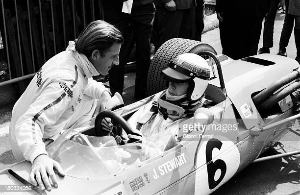 The Scotish race car drivers Jim Clark and Jakie Stewart on the circuit of Jarama 13rd March 1968 Madrid Spain