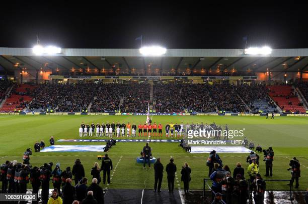 The Scotland and Israel teams line up for the National Anthems during the UEFA Nations League C group one match between Scotland and Israel at...