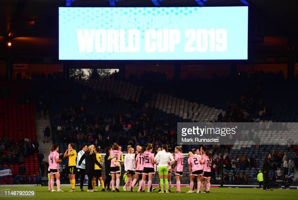 The Scotland and Jamaica teams come together at the final whistle during the Women's International Friendly between Scotland and Jamaica at Hampden...