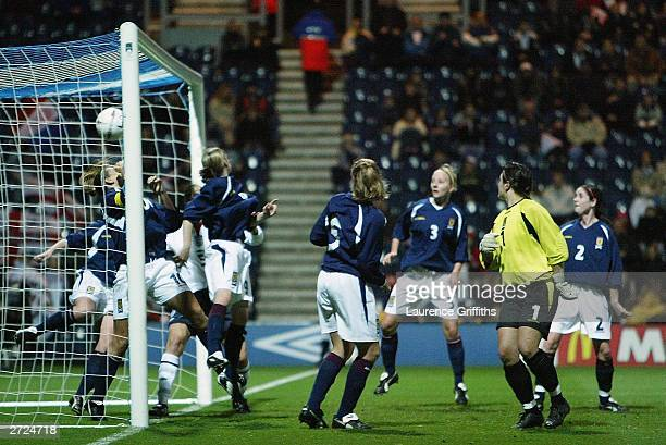 The Scotland defence fail to stop the first goal from Amanda Barr of England during the Womens International Friendly match between England and...