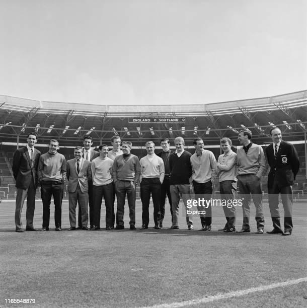 The Scotland National Football Team at Wembley Stadium ahead a match against England, London, UK, 10th April 1965.