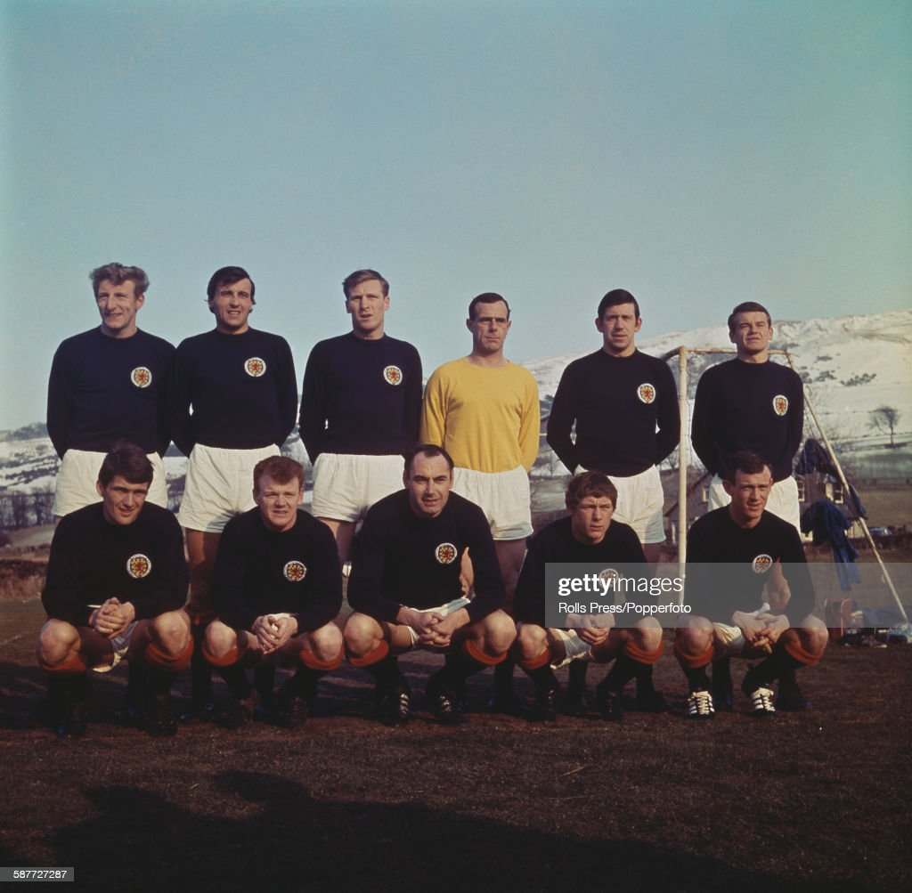 The Scotland national football team line up prior to their playing in the UEFA European Nations Cup competition in 1968. Back row from left to right: Tommy Gemmell, Ron McKinnon, Billy McNeill, Ronnie Simpson, John Greig and Eddie McCreadie. Front row from left to right: Charlie Cooke, Billy Bremner, Alan Gilzean, Jimmy Johnstone and Bobby Lennox.