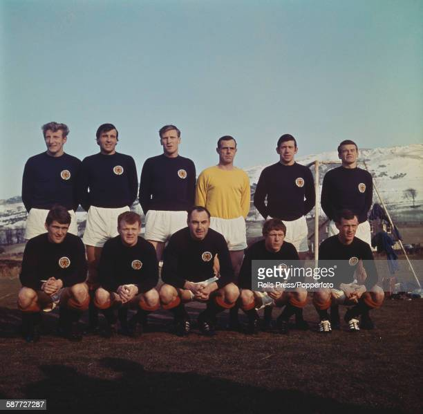 The Scotland national football team line up prior to their playing in the UEFA European Nations Cup competition in 1968 Back row from left to right...
