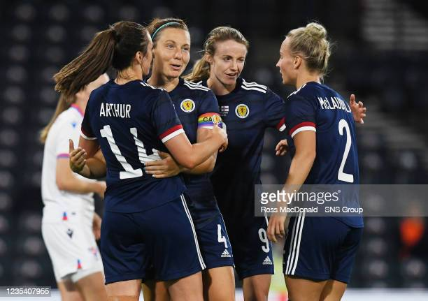 The Scotland players celebrate Chloe Arthur's second goal during a FIFA World Cup Qualifier between Scotland and Faroe Islands at Hampden Park on...