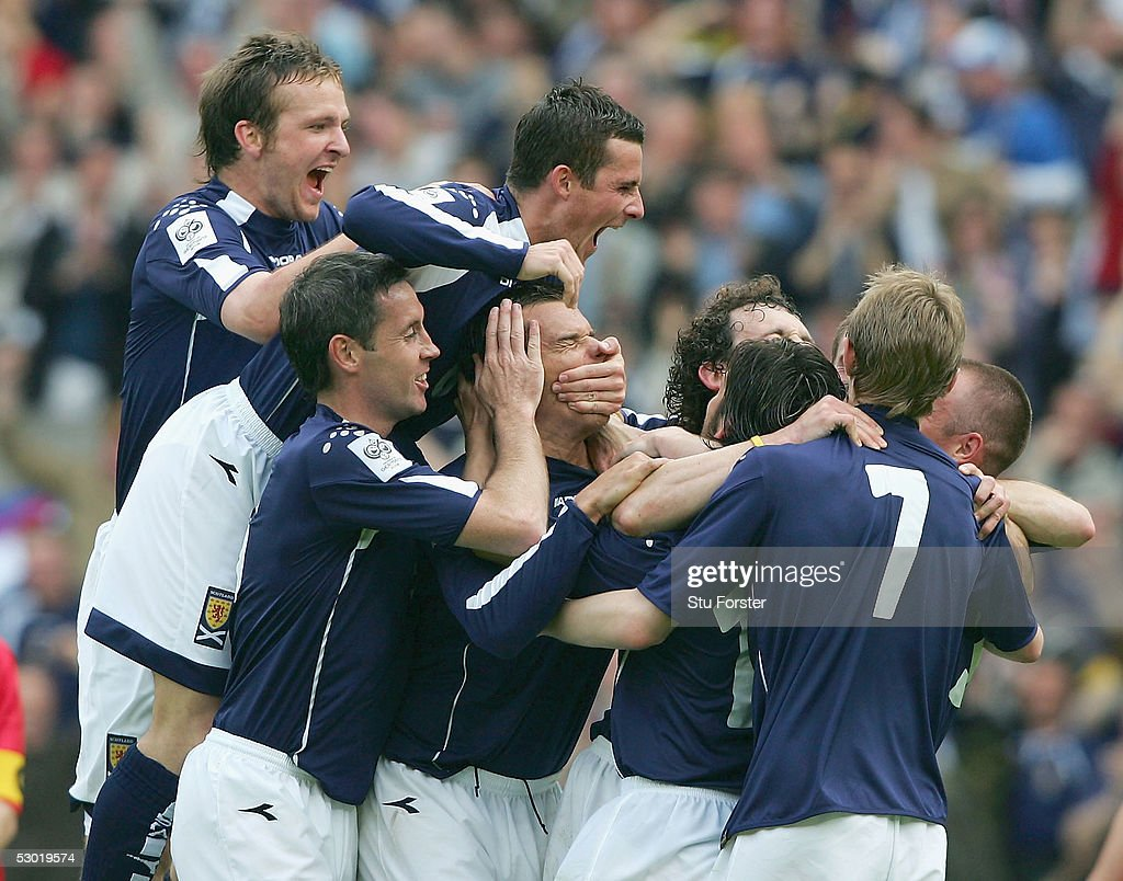The Scotland players celebrate the first goal during the Group Five World Cup Qualifying match between Scotland and Moldova at Hampden Park, on June 4, 2005 in Glasgow, Scotland.