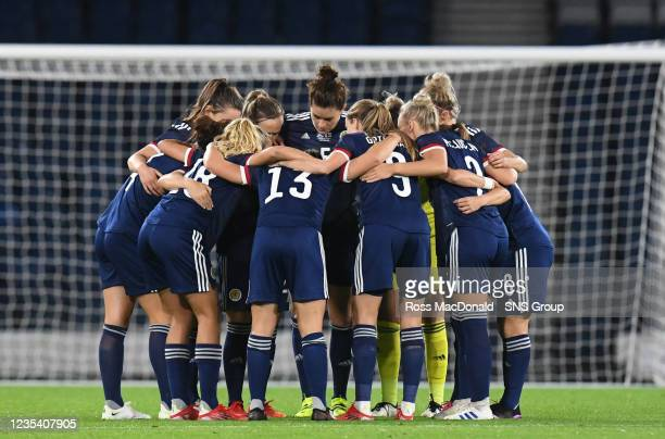 The Scotland players huddle ahead of kick off during a FIFA World Cup Qualifier between Scotland and Faroe Islands at Hampden Park on September 21 in...