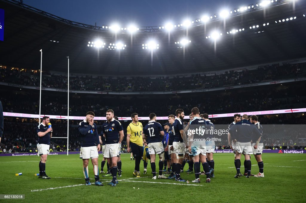 The Scotland players look dejected after the RBS Six Nations match between England and Scotland at Twickenham Stadium on March 11, 2017 in London, England.