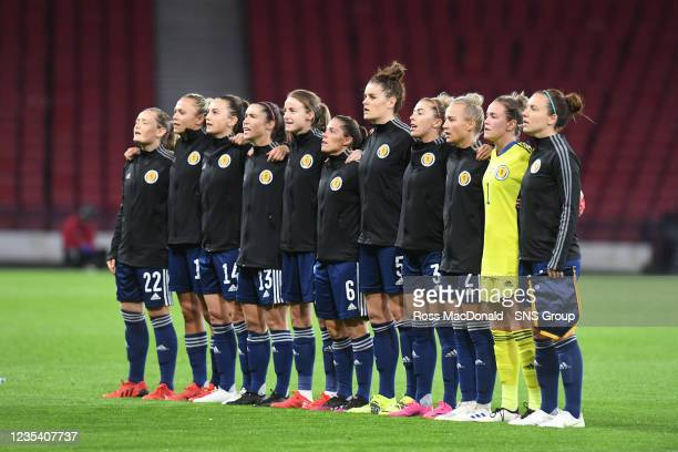 The Scotland players sing the national anthem during a FIFA World Cup Qualifier between Scotland and Faroe Islands at Hampden Park on September 21 in...