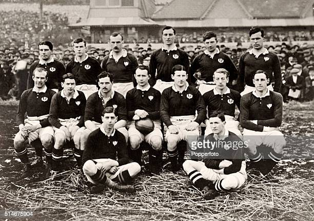 The Scotland rugby team prior to their Five Nations rugby union match against Wales at Swansea on 3rd February 1912 Wales won 216 Top row left to...