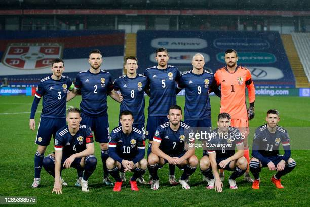 The Scotland side pose for a team picture prior to kick off during the UEFA EURO 2020 Play-Off Final between Serbia and Scotland at Rajko Mitic...