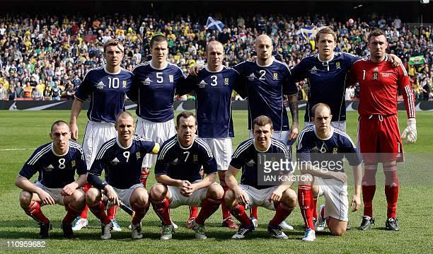 The Scotland starting XI James Morrison Gary Caldwell Stephen Crainey Alan Hutton Christophe Berra and Allan McGregor Scott Brown Kenny Miller...