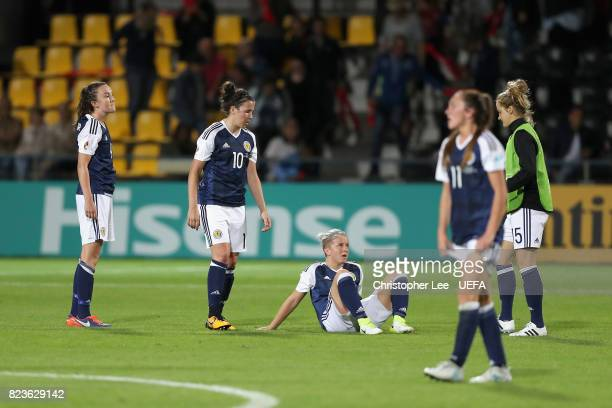 The Scotland team are dejected after the Group D match between Scotland and Spain during the UEFA Women's Euro 2017 at Stadion De Adelaarshorst on...