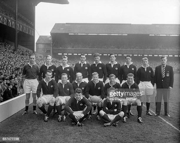 The Scotland team back row left to right I Mitchell Keith MacDonald Ken Smith Hamish Kemp John Allen Thomas McClung Ken Scotland Front row left to...