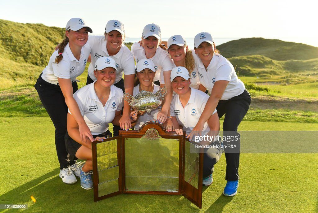 The Scotland team celebrate with the Hugh Kelly Cup after winning the Ladies' title at the Ladies' and Girls' Home Internationals at Ballybunion Golf Club on August 10, 2018 in Ballybunion, Ireland.