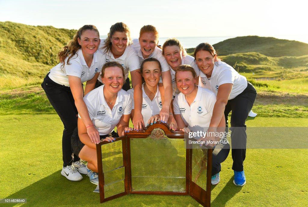 The Scotland team celebrate with the trophy after winning the Ladies' title at the Ladies' and Girls' Home Internationals at Ballybunion Golf Club on August 10, 2018 in Ballybunion, Ireland.