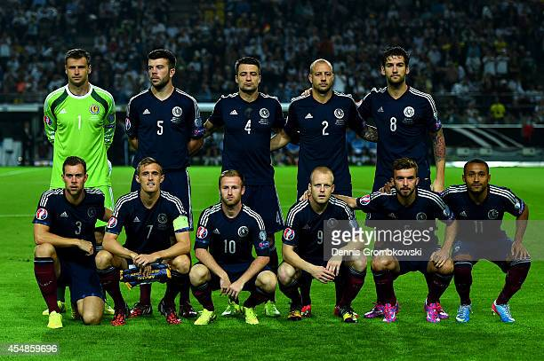 The Scotland team line up prior to the EURO 2016 Group D qualifying match between Germany and Scotland at Signal Iduna Park on September 7 2014 in...