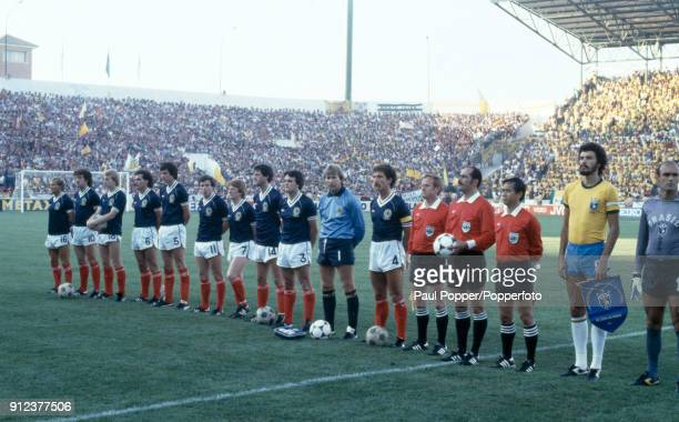 The Scotland team line up prior to the FIFA World Cup match between Scotland and Brazil at the Estadio Benito Villamarin in Seville 18th June 1982...