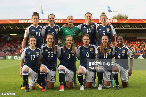 The Scotland team line up prior to the Group D match between Scotland and Spain during the UEFA Women's Euro 2017 at Stadion De Adelaarshorst on July...