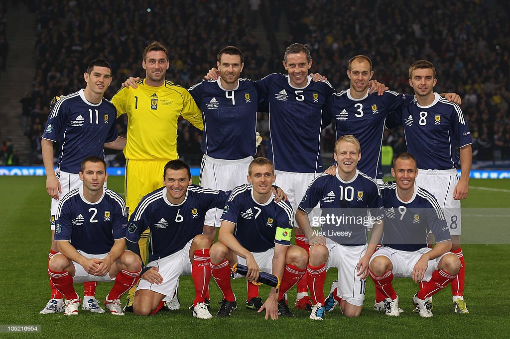 The Scotland team line up prior to the UEFA EURO 2012 Group I Qualifier match between Scotland and Spain at Hampden Park on October 12, 2010 in Glasgow, Scotland.