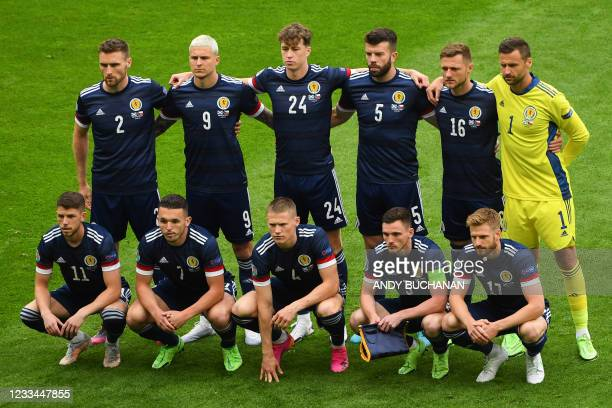 The Scotland team pose for a team photo ahead of the UEFA EURO 2020 Group D football match between Scotland and Czech Republic at Hampden Park in...