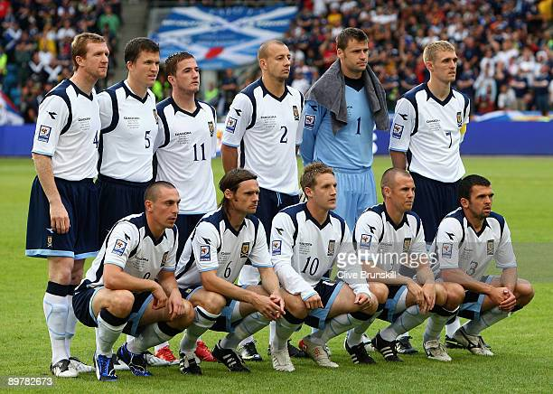 The Scotland team pose for a team photo before the kick off prior to the FIFA 2010 group nine World Cup Qualifying match between Scotland and Norway...