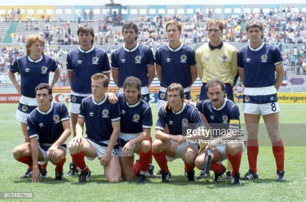 The Scotland team pose for photographers before their FIFA World Cup match against Uruguay at the Estadio Neza in Nezahualcoyotl Mexico 13th June...