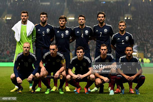 The Scotland team pose for the cameras prior to kickoff during the International Friendly match between Scotland and England at Celtic Park Stadium...