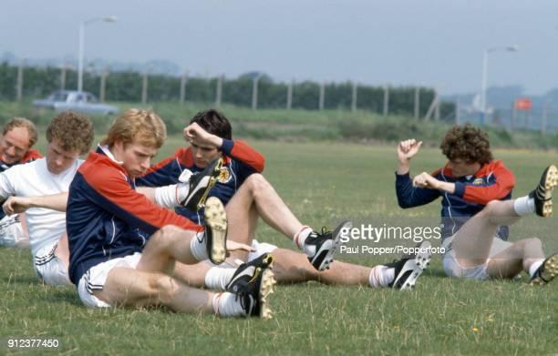 The Scotland team prepare for their FIFA World Cup match against Brazil in Seville 17th June 1982 Leftright Davie Provan Steve Archibald Alan Hansen...