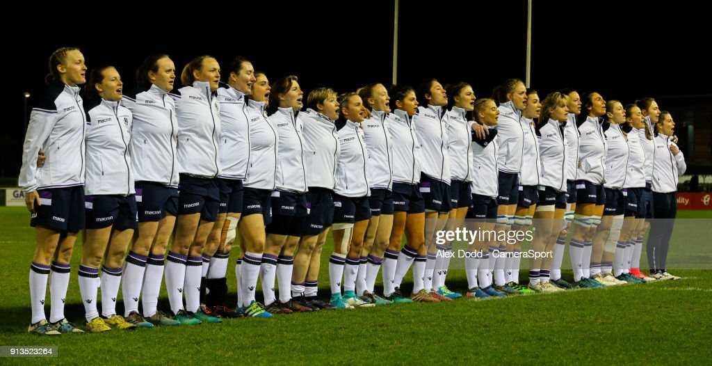 The Scotland team sing the national anthem during the Women's Six Nations Championships Round 1 match between Wales Women and Scotland Women at Eirias Stadium on February 2, 2018 in Colwyn Bay, Wales.
