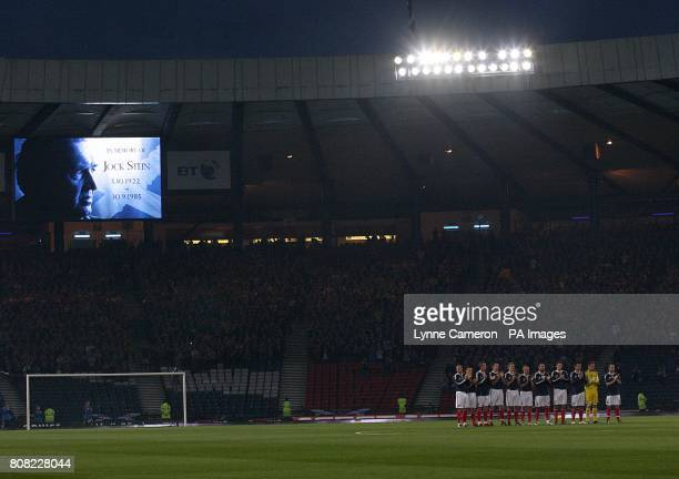 The Scotland team take part in a moments applause in the memory of Jock Stein who died 25 years ago