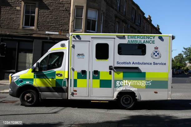 The Scottish Ambulance Service attends an emergency in Edinburgh, Scotland.