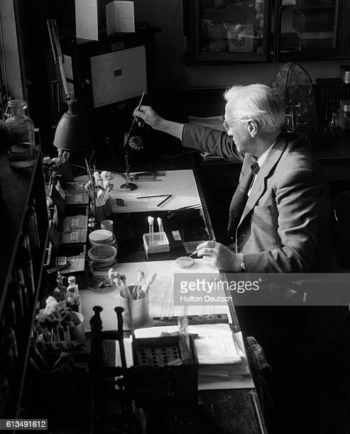 The Scottish bacteriologist Alexander Fleming at work He shared a 1945 Nobel Prize for his discovery of penicillin in 1928
