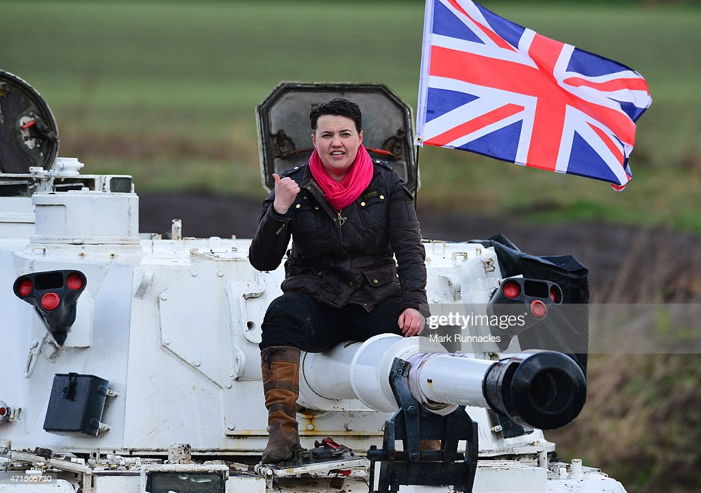 The Scottish Conservative Leader Ruth Davidson gets behind the controls of a Tank at Auchterhouse Country Sports, as she highlights how the country's military and defences are best served by the party on April 29, 2015 in Dundee, Scotland. Britain goes to the polls in a General Election on May 7.