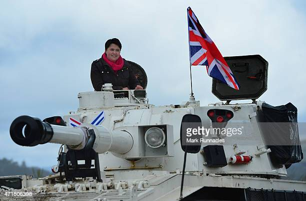 The Scottish Conservative Leader Ruth Davidson gets behind the wheel of a Tank at Auchterhouse Country Sports as she highlights how the country's...