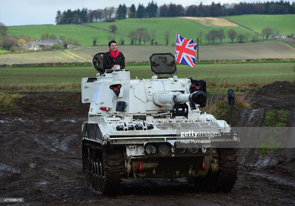 The Scottish Conservative Leader Ruth Davidson gets behind the wheel of a Tank at Auchterhouse Country Sports, as she highlights how the country's military and defences are best served by the party on April 29, 2015 in Dundee, Scotland. Britain goes to the polls in a General Election on May 7.