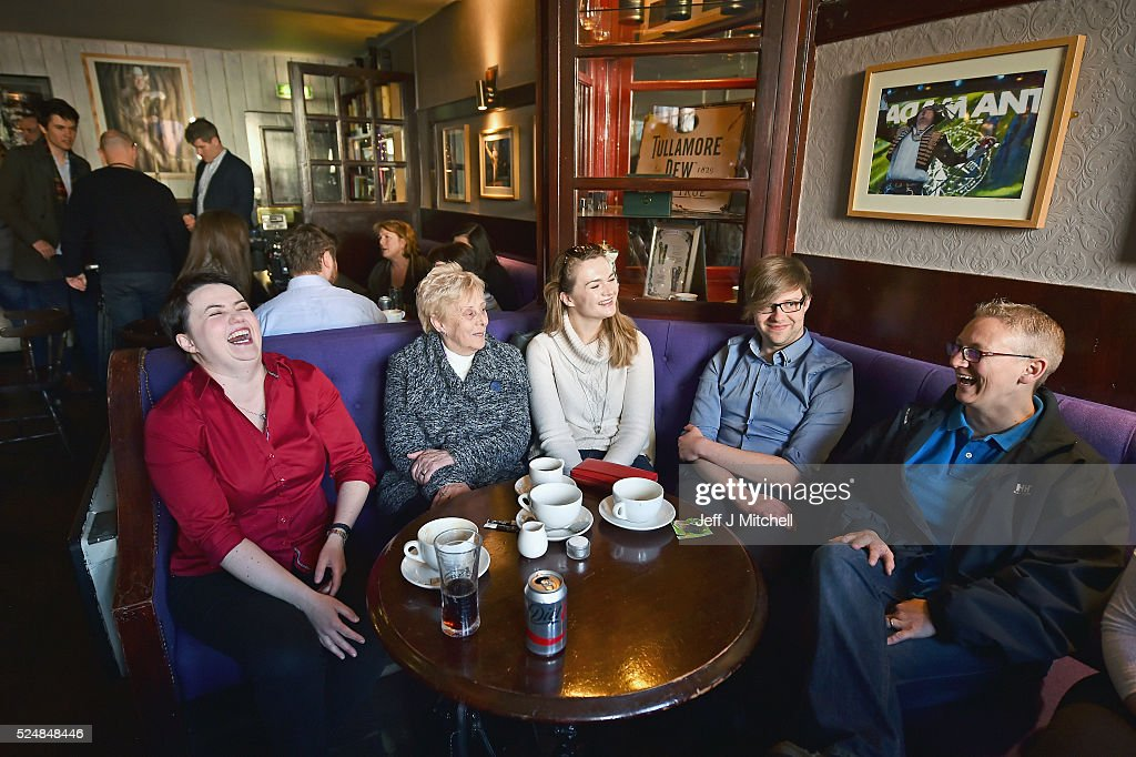 The Scottish Conservative leader Ruth Davidson meets staff and regulars at the Raeburn Bar on April 27, 2016 in Edinburgh,Scotland. Scotland's political parties have again been out on the streets with just eight days of campaigning left before polling day for the May 5 Holyrood election.